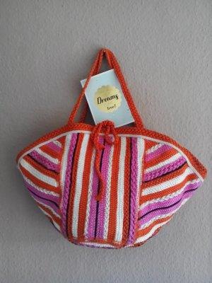 Zara gestreifte Shopper Tasche in pink-orange-weiss Farbkombination, neu