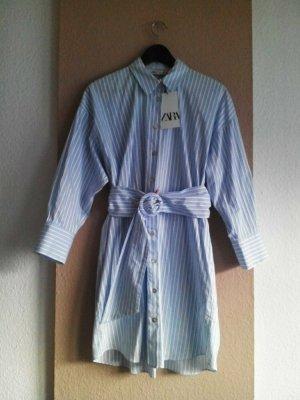 Zara gestreiftes Mini-Hemdblusenkleid aus 100% Baumwolle, Grösse S oversize, neu