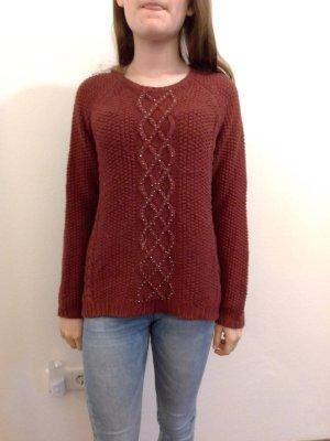 Zara Kids Warkoczowy sweter bordo