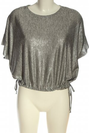 Zara Glanzende blouse zilver gestreept patroon elegant