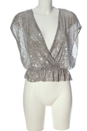 Zara Glanzende blouse zilver elegant