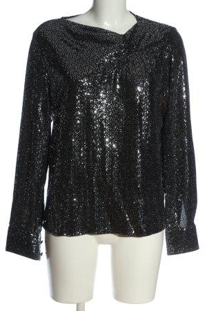 Zara Glanzbluse schwarz-silberfarben Elegant