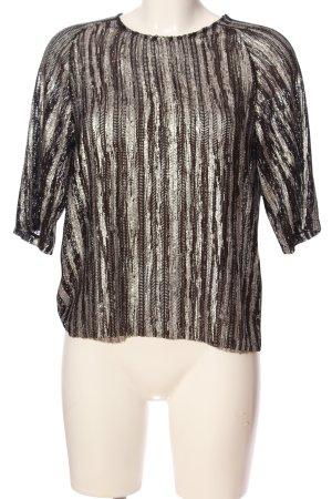 Zara Glanzende blouse lichtgrijs gestreept patroon casual uitstraling