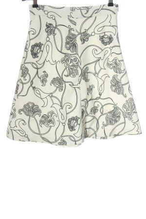 Zara Glockenrock weiß-schwarz Blumenmuster Casual-Look