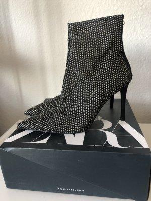 Zara Gr 39 stiefel Stiefeletten Strass schwarz neu blogger