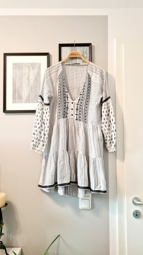 Zara Vestido tipo túnica blanco-negro