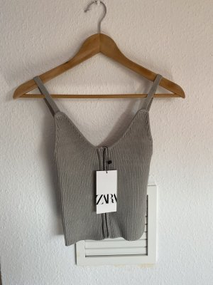 Zara Grau Corsagen Crop top Neu M