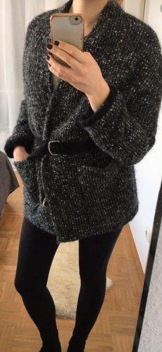 Zara Abrigo de lana negro-blanco Lana