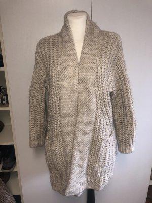Zara Cappotto a maglia beige-bianco sporco