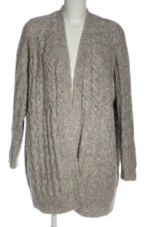 Zara Cárdigan de punto grueso gris claro punto trenzado elegante