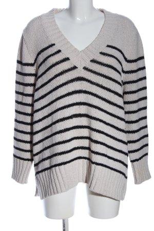 Zara Pullover a maglia grossa grigio chiaro-nero motivo a righe stile casual