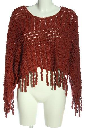 Zara Pull à gosses mailles rouge style décontracté