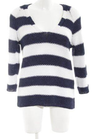 Zara Grobstrickpullover blau-weiß Streifenmuster Casual-Look