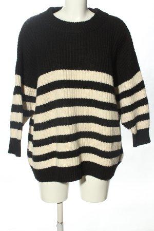 Zara Grobstrickpullover schwarz-wollweiß Streifenmuster Casual-Look