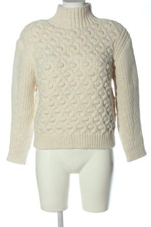 Zara Jersey de punto grueso blanco puro look casual