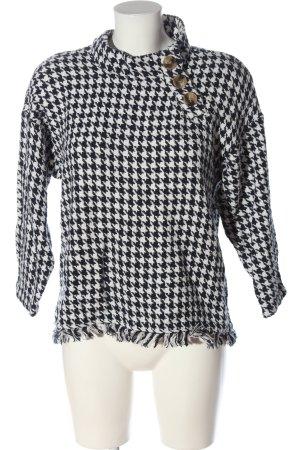 Zara Grobstrickpullover schwarz-weiß Allover-Druck Casual-Look