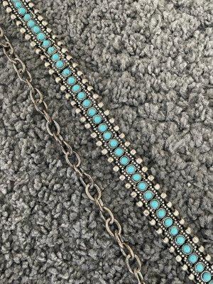 Zara Cinturón de cadena color plata-azul