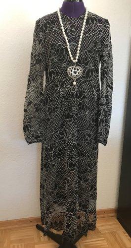 Zara Guipure Kleid schwarz-weiß mit Unterkleid Gr. L neu mit Etikett