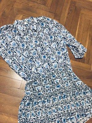 Zara H&M Kleid zweiteilig French Girl Look Print-Kleider blau weiss  Bluse & Rock Sommerkleid Gr. M/L - Versandkostenfrei!!!