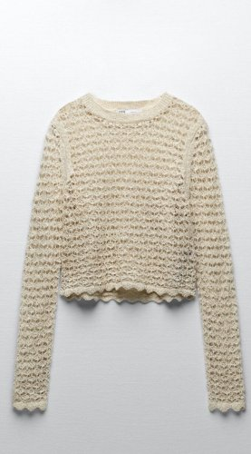 ZARA Häckel Pullover gr xs beige neu mit Etikett