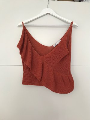 Zara Crochet Top cognac-coloured-brown