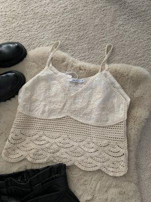 Zara Camicetta all'uncinetto beige chiaro-bianco sporco