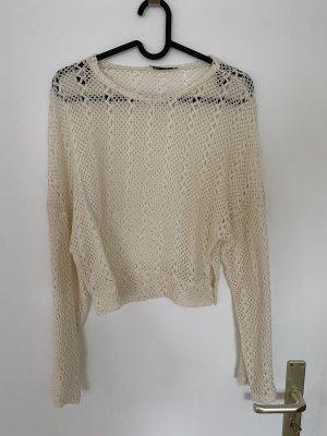 Zara Crochet Shirt natural white-cream