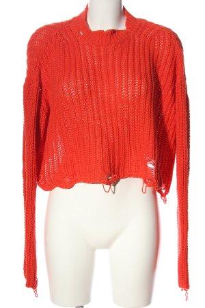 Zara Gehaakte trui rood kabel steek casual uitstraling