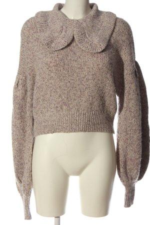 Zara Pull en crochet crème-rose moucheté style décontracté