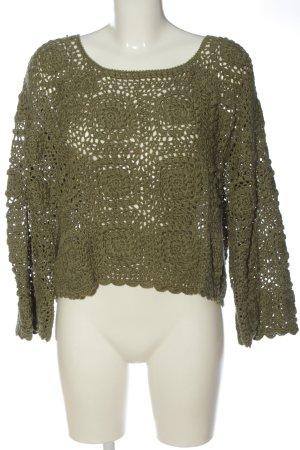 Zara Szydełkowany sweter khaki W stylu casual