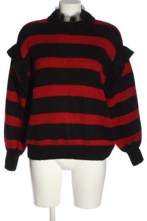 Zara Häkelpullover schwarz-rot Streifenmuster Casual-Look