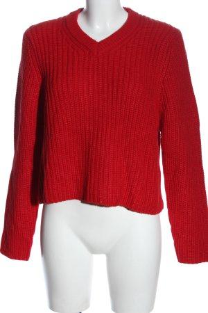 Zara Jersey de ganchillo rojo look casual