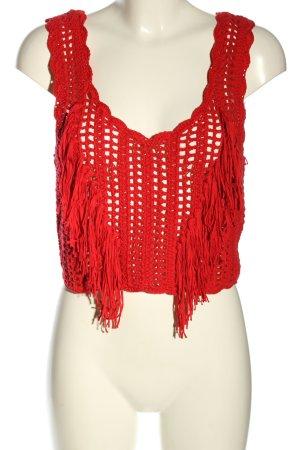 Zara Szydełkowany top czerwony W stylu casual