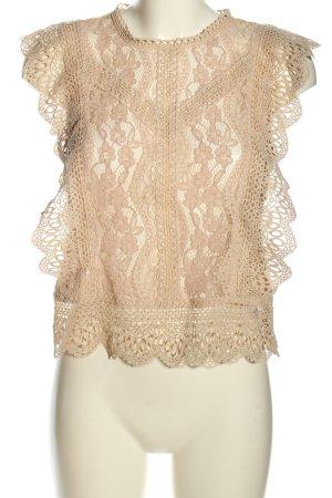 Zara Top a uncinetto crema motivo floreale elegante