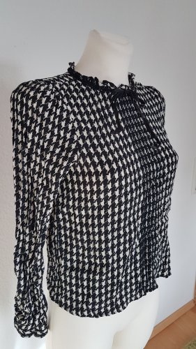 Zara Tie-neck Blouse white-black viscose