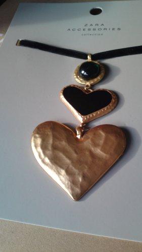 Zara Halskette Samt mit Herzanhänger gold UVP