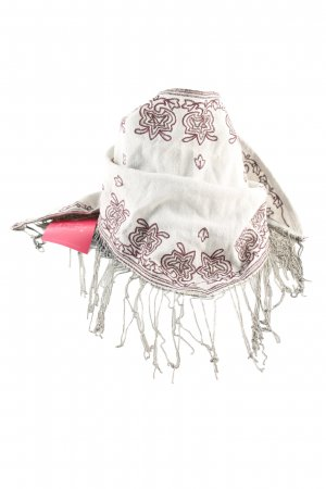 Zara Fazzoletto da collo bianco sporco-rosso motivo grafico stile casual