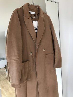 Zara Handgefertigter Maskuliner Mantel mit Knöpfen Braun Camel Gr. 34 / XS - NEU mit Etikett!