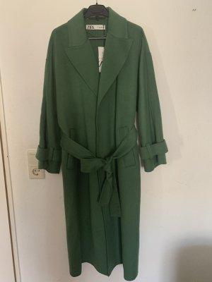 Zara Płaszcz oversize ciemnozielony-khaki