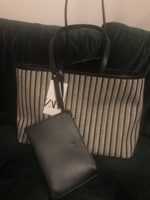 Zara Handtasche shopper pochette neverfull schwarz Leder schultertasche groß
