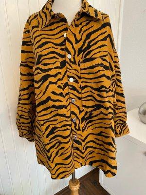 Zara Long Sleeve Shirt cognac-coloured-black