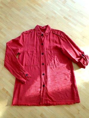 Zara Woman Chemise en jean rouge clair-rouge
