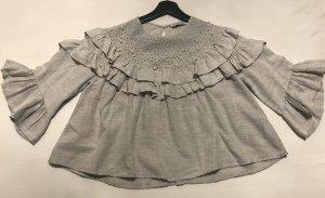 Zara Basic Shirt met korte mouwen zilver
