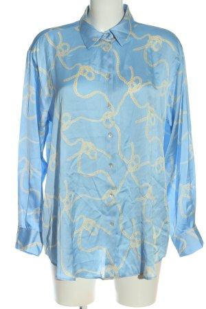 Zara Hemd-Bluse blau-creme Allover-Druck Business-Look