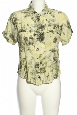 Zara Hemd-Bluse blassgelb-hellgrau abstraktes Muster Casual-Look
