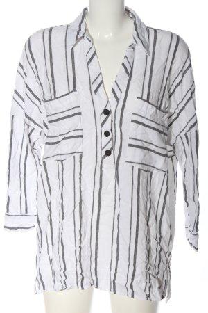 Zara Hemd-Bluse weiß-schwarz Streifenmuster Casual-Look