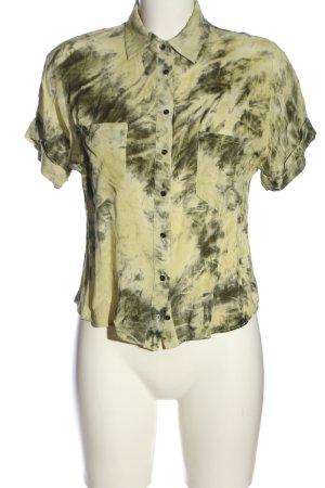 Zara Hemd-Bluse grün-blassgelb abstraktes Muster Casual-Look