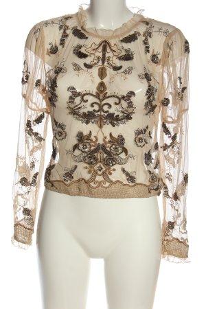 Zara Hemd-Bluse creme-braun Elegant