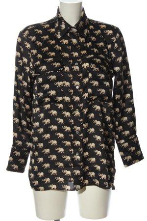 Zara Hemd-Bluse schwarz-wollweiß Animalmuster Casual-Look