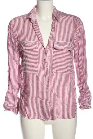 Zara Hemd-Bluse pink-weiß Streifenmuster Casual-Look